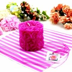 Valentine Wedding Pillar Rose Craft Candle Decoration Gift