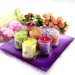 SPA Multi-Colored Glass Pillar Candle Holder