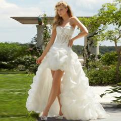 высокий-низкий свадебное платье из органзы сексуальная поездка