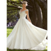 Silky Taffeta V Neck Voyage wedding dresses with Beaded Appliques
