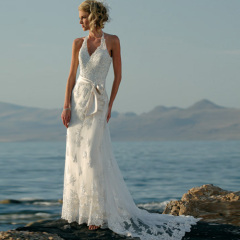 Halter Lace Beach Wedding Dresses