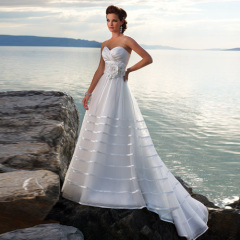 Sweetheart Imperio cintura Organza Beach Wedding Dresses