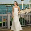 Strapless Silky Taffeta Beach Wedding Dresses With Beaded Details