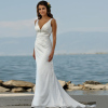 Elegant V Neck Beaded Beach Wedding Dresses with Sweep Train