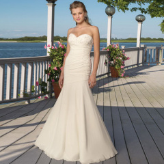 Sweetheart Mermaid Chiffon Beach Wedding dresses with Appliques