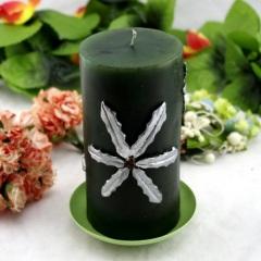 Green Flower Pillar Craft Candle (RC-525)