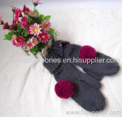 Acrylic knitted glove with pom-pom