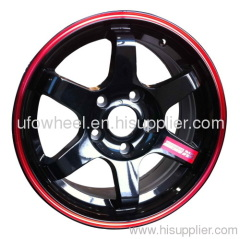 Alloy Wheels black with red stripe