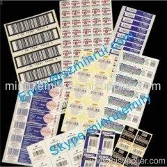 preprinted bar code labels