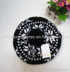 Acrylic jacquard knitted winter beret with pom-pom