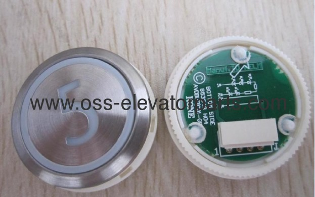 Push button round silver cover red light2AVDBUT (PCB 853343H04)