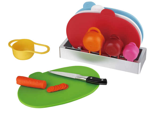 4pcs index chopping board with 4pcs measuring cup