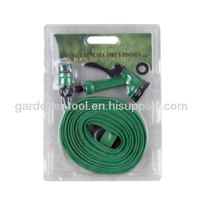 15M Flat Garden Hose With 4-function Spray Nozzle Set