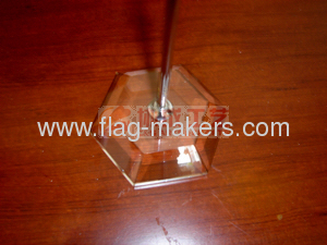 Custom Y style table flag with white Crystal stand
