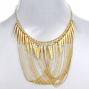 Tassel Chain Spike Bib Statement Necklace Earring Gold Necklace Set