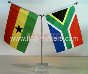 CustomY style table flag with Square white Crystal stand