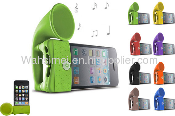 Portable horn stand Silicone speakers for iphone