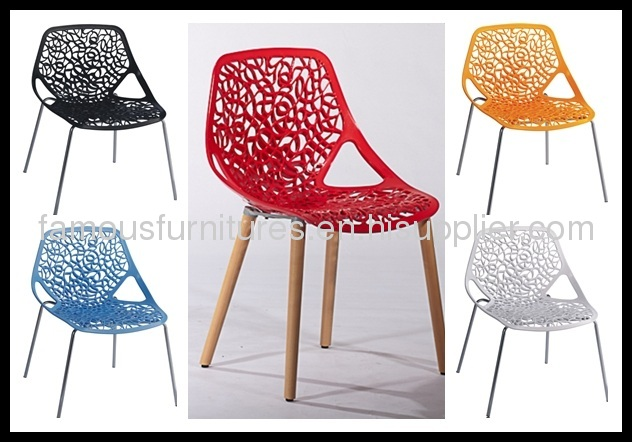 red PP steel tube simple hollow carved dining Chairs