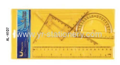 20cm Student 4pc Plastice Ruler Set