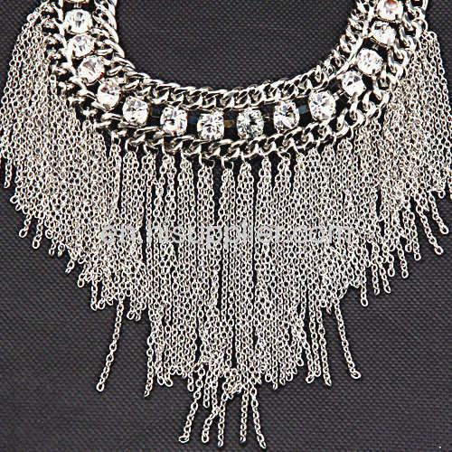 Fashion Accessories Rhinestone Alloy Link Chain Tassel Necklace