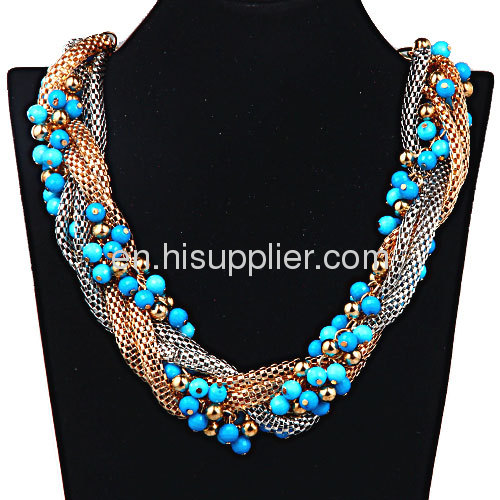 Fashion Colorful Seed Beads Chunky Braided Snake Chain Necklace Cheap