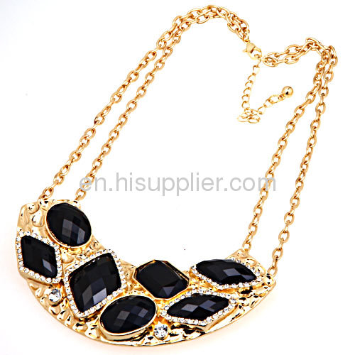 Gold Black Link Chain Stone Statement Crescent Choker Bib Necklace