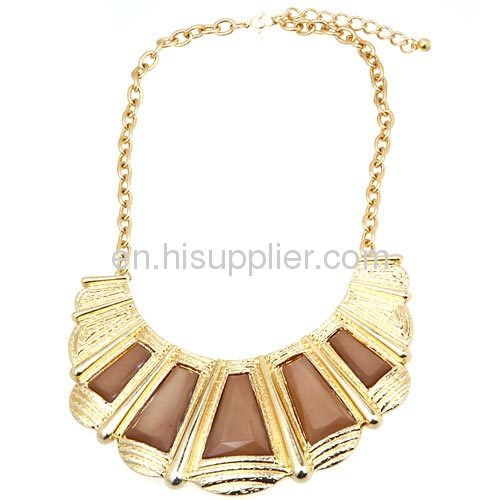 Gold Filled Jewelry,Artificial Stone Scalloped Collar Necklace