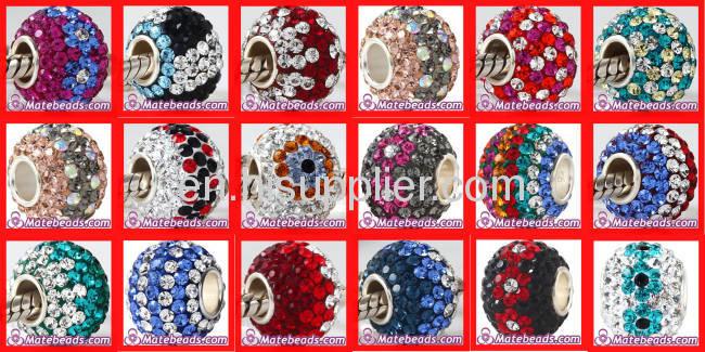 Plain Design Vintage 925 Sterling Silver european Swarovski Crystal Beads