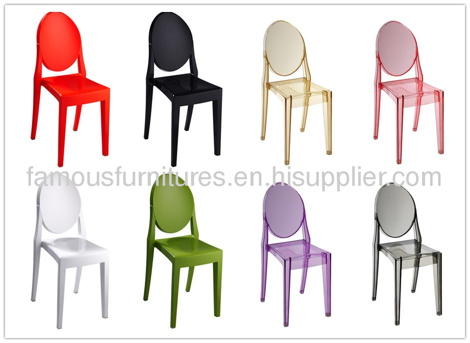 PC rounded backrest Victoria ghost side dining chairs