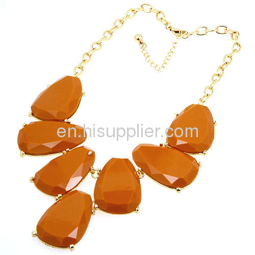 2013 Trendy Costume Jewelry Teardrop Resin Stone Necklace