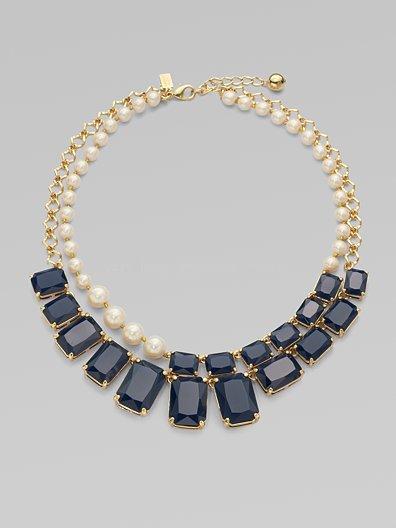 Two layered Resin Stone Imitation Pearl Bib Kate Spade Asymmetrical Necklace