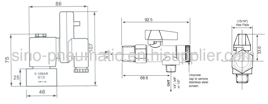 1/43/81/2ADV type Automatic Drain valve with strainer ball valve