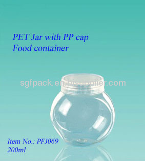 Food container 200mlPET jarPlastic jar with PP cap 50mm cap special shape bottle for food package