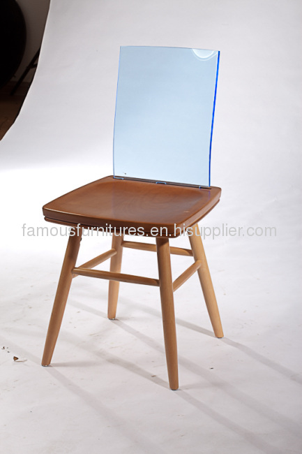 Simple ash wood acrylic seat back side dining chairs reception room chairs