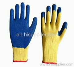 cotton with latex coated safety gloves