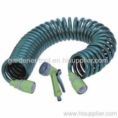 50FT Garden Coil Hose Hose Nozzle Set