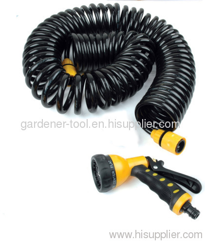15-Meter car wash PU garden water coil hose with nozzle