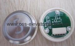 "Push button round silver cover red light ""3"" AVDBUT (PCB 853343H04)"