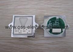Push button square silver braille down