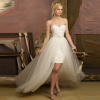 GEORGE BRIDE High Low Strapless Sweetheart All Over Lace Detached Train Wedding Dress