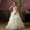 GEORGE BRIDE ELegant Strapless Tiered Organza Wedding Dress