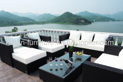 Outdoor PE wicker modern sofa furniture hotel pool big sets