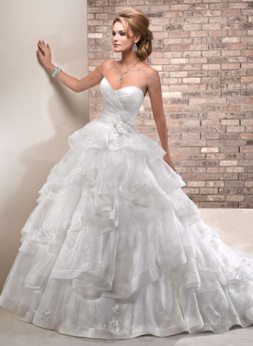 GEORGE BRIDE Tiered Organza Ball Gown Wedding Dress