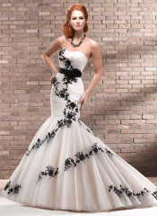 GEORGE BRIDE Mermaid Net Over Satin Chapel Train Wedding Dress With Black Appliques