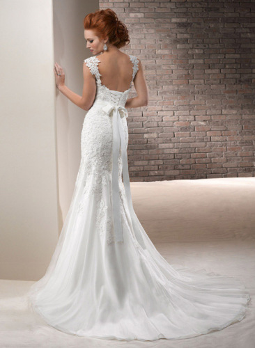 GEORGE BRIDE Removable Lace Strap Split-front Chapel Train Wedding Dress