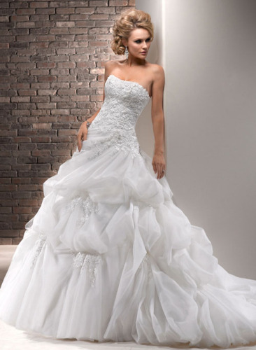 GEORGE BRIDE Ball Gown Organza Over Satin Wedding Dress With Lace Appliques