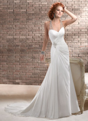 GEORGE BRIDE Beaded Halter Chiffon Chapel Train Beach Wedding Dress