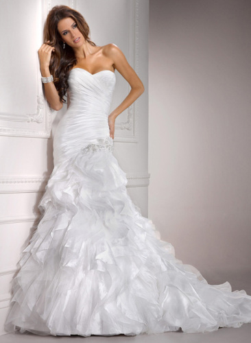 GEORGE BRIDE Taffeta Sweetheart Mermaid Chapel Train Wedding Gowns