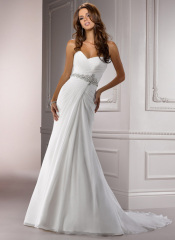 GEORGE BRIDE Sweetheart Chiffon Chapel Train Beach Wedding Dress