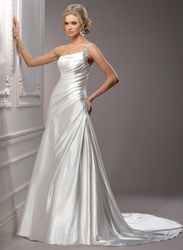 A line one shoulder wedding gown